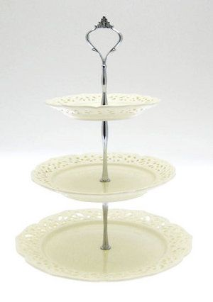 Vintage Cream Colour 3 Tier Cake Stand / Display Holder Preview