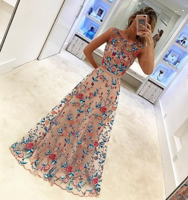long prom dress with appliques, elegant party dresses, simple floral prom party dresses