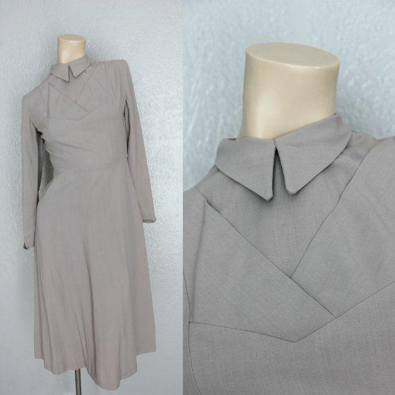 1950's Grey Vintage Dress Secretary Dress Sz by MaeberryVintage, $38.00