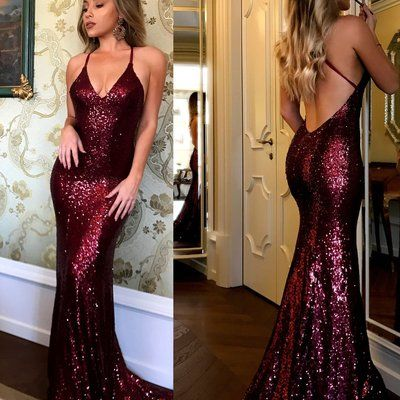 Awesome Sequined lace spaghetti strap long evening dress,v-neck prom dress,burgundy merm…
