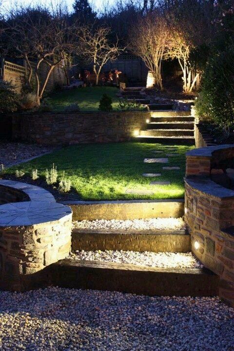 In die Treppe integriertes Licht hat mehrere Vorteile: Zum einen sind die Stufen auch nachts gut zu erkennen und Unfälle können vermieden werden. Zum anderen wirken die Lichtakzente freundlich und geben Ihrem Garten einen stylischen Touch.