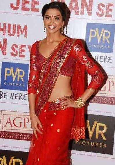 Deepika Padukone in B'ful Red #Saree with Open Back Blouse by Neeta Lulla http://www.neetalulla.com/ @ Khelein Hum Jee Jaan Se Premiere.