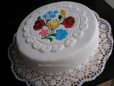 Ízek...torták...és más állatfajták: Kalocsai mintás terítő a tortán
