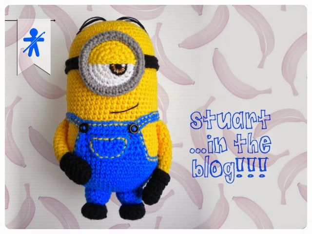 Stuart the Minion 1 Eye from Despicable Me Minion - Free Amigurumi Pattern ( Spanish and English) Scroll Down here: http://amigurumisfanclub.blogspot.com.es/2015/02/the-minions-ii-stuart.html Photo-Tutorial Minion's eye step by step here: http://amigurumisfanclub.blogspot.com.es/2015/03/foto-tutorial-el-ojo-de-minion-paso.html