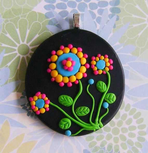 Fimo Polymer Clay Necklace Medallion  flowers in the por Coloraudia