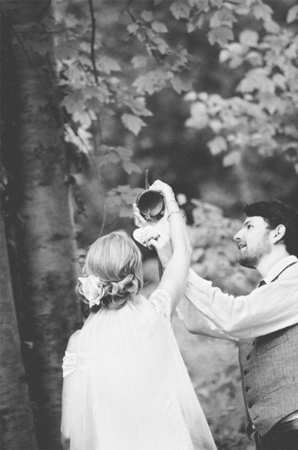 """""""We used a Buddhist prayer bell in our ceremony,"""" the bride said. """"The tradition is for the bride and groom to write their wishes for each other on the small clanger. When the bell is hung and the wind blows to release its chime, your prayers rise up on the sound of the notes."""" 
