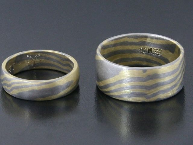 #Rings by #Bielak  #palladium / #18k yellow #gold  #mokume #gane  #unique #wedding rings from #Poland