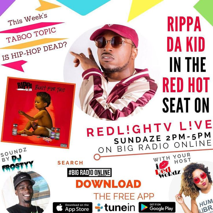 """Join your favorite Chika Red & Prepare to Vibe to Soundz by SoFLo's Coolest DJ @iamdjfrostyy SUNDAZE 2PM-5PM L!VE on Facebook and BIG Radio Online on our new show RedL!ghTV L!ve  This Week's TABOO Topic: """"Is Hip-Hop Dead?"""" & who better to have this week than a dope local Rapper and Recording Artist @rippadakid will be sitting in the RED HOT SEAT as he TELLS ALL about his new album """"BUILT FOR THIS"""" and all about the industry through his lens! You don't want to miss this!  Wanna Chime in? Then…"""