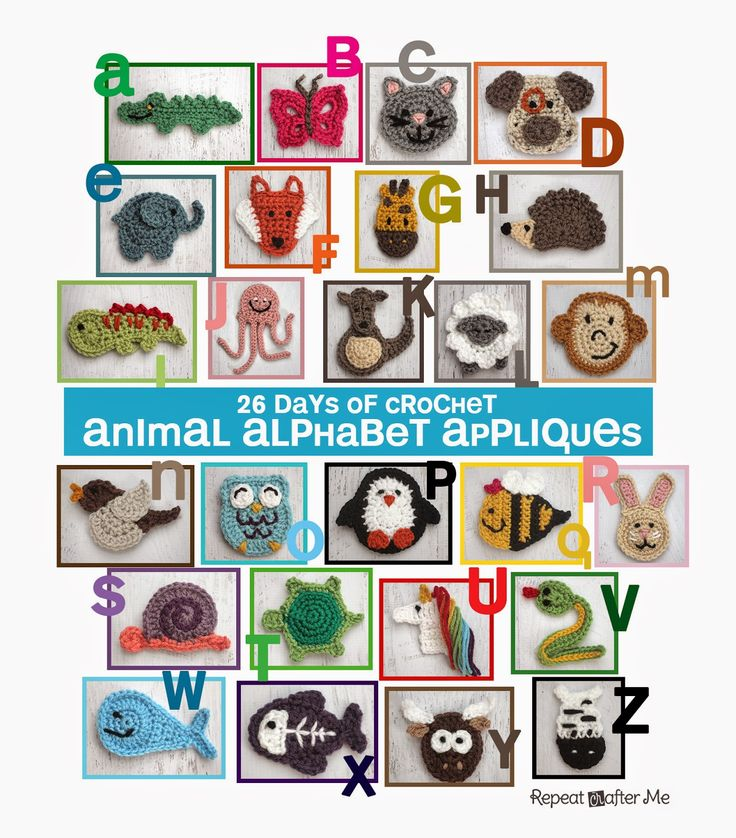 26 Days of Crochet Animal Alphabet Appliques. Love this idea for a quiet book.