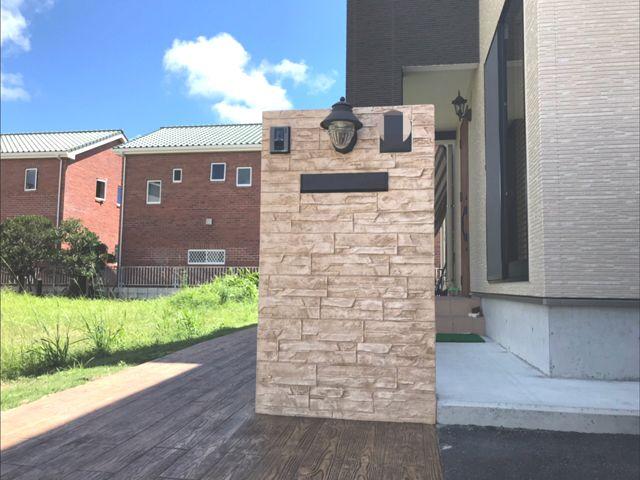 Ykk Ap エクステリアポストg3型 埋込式 2ブロックサイズ カームブラック 庭 リフォーム エクステリア 玄関 門柱