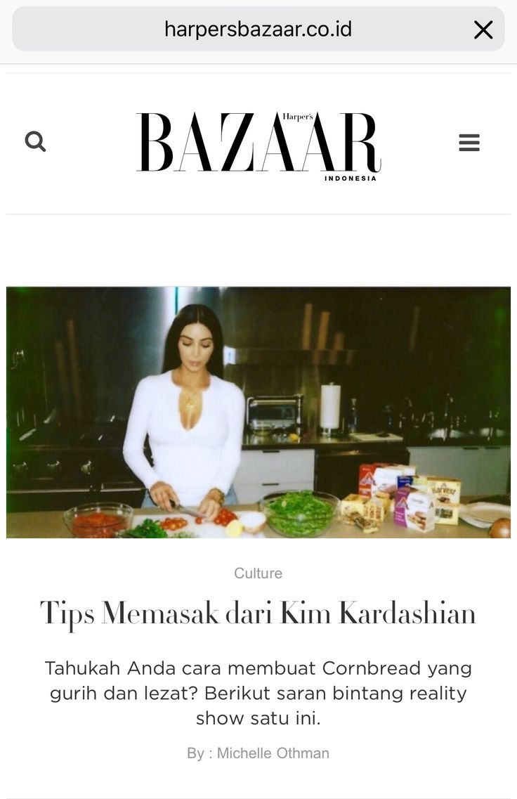 Cooking tips from Kim Kardashian - article for Harper's Bazaar website