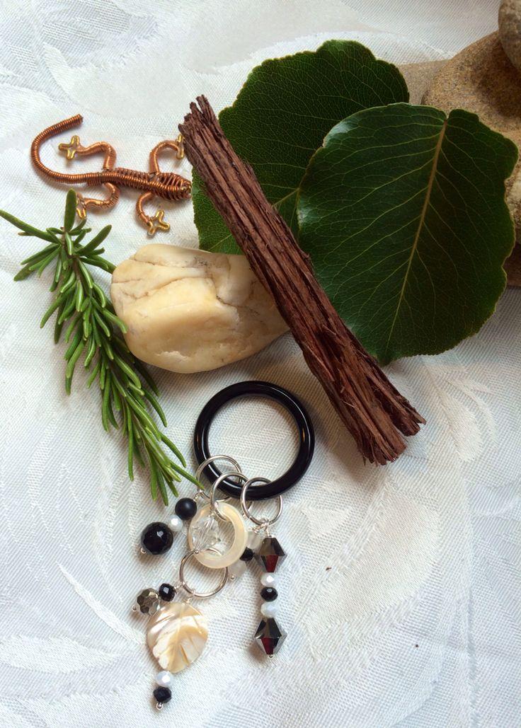 Onyx, Czech glass, mother of pearl and Swarovski pendant #design #unique #jewellery #handmade #GGJewellery