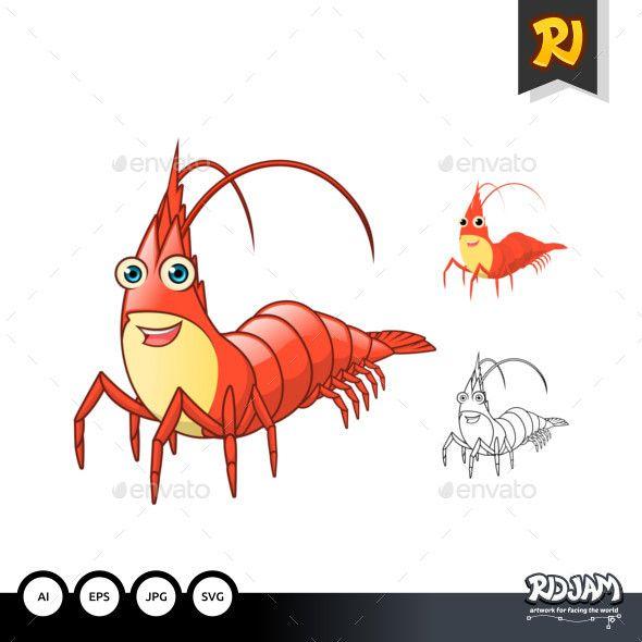 Shrimp Cartoon Character - Animals Characters