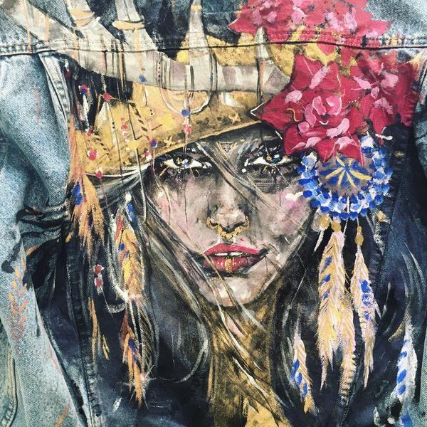 Original art on denim vintage jacket by Ana Kuni