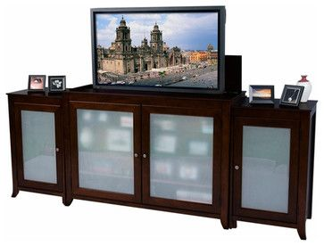 Siena Frosted Glass Tv Lift With Side Drawers - traditional - Entertainment Centers And Tv Stands - Mahogany & More