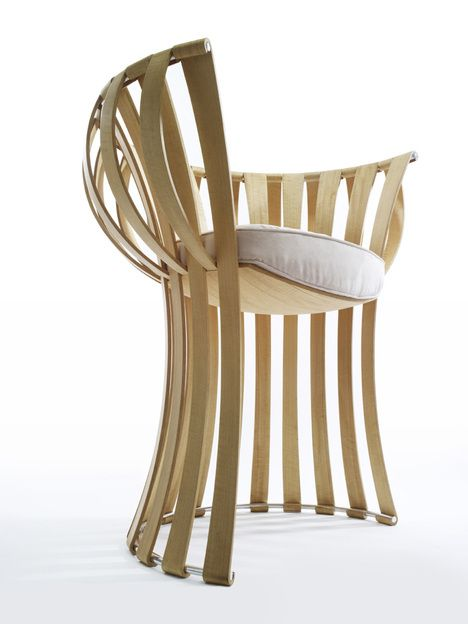 Slat Chair by Scott Henderson a steam bent wood chair with a clever interlocked structure that uses tension and compression to suspend the seat.