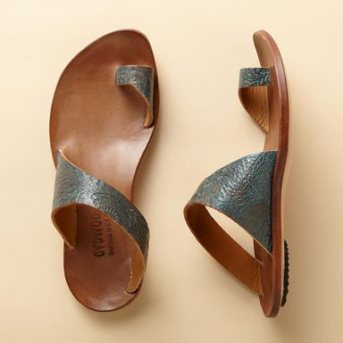 THONG SANDALS -- Modern art for your feet from CYDWOQ, a California-based shoe company that blends craftsmanship and comfort in every pair they make. Slip these sandals on and let your feet rejoice! Leather. Made in USA. Euro whole sizes 36 to 41. 36 (US 6.75), 37 (US 7.5), 38 (US 8.25), 39 (US 9) 40 (US 9.75), 41 (US 10.5).
