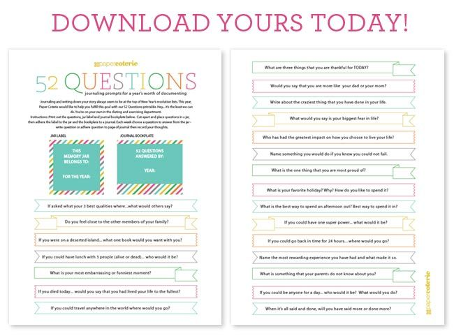 Free printables - 52 questions, use 'em to make a gratitude jar and memory journal for the new year.