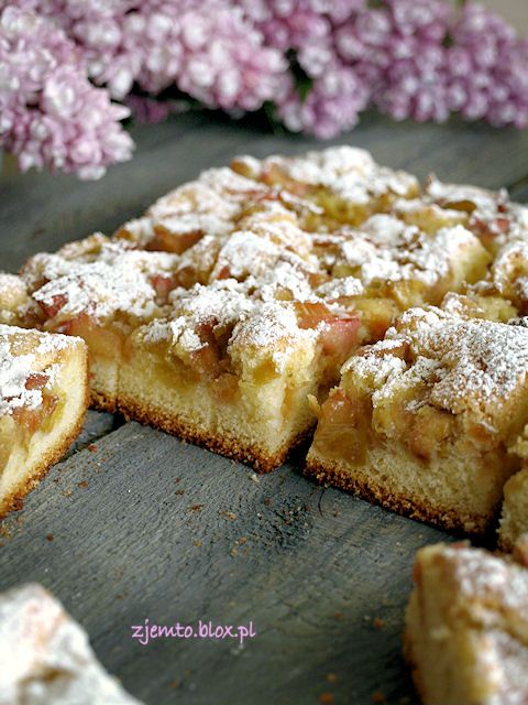 Polish Cake made with any fruit but this one is with Rhubarb