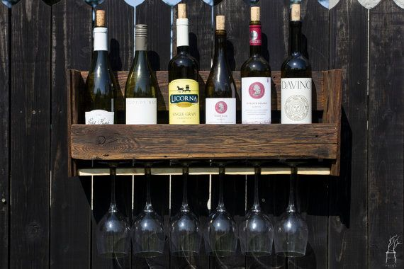 Wall Rustic Wine Rack for bottles and glass of wine. by PriosTeam