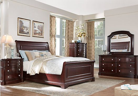 dumont cherry 5 pc king sleigh bedroom 1 find