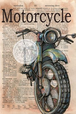 Old Motorcycle Mixed Media Drawing on Distressed, Dictionary Page - print available for purchase at www.etsy.com/shop/flyingshoes - flying shoes art studio