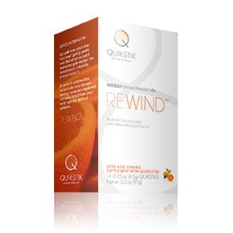 It's a feeling we've all experienced. At some point, usually just after lunch, your body feels like it's moving in slow motion. QuikStik ReWind uses powerful bionutrients to squash that all-over droopy feeling, re-energize your body, and infuse your brain with the spirit of renewal.   Each Box Contains 14 Sticks.