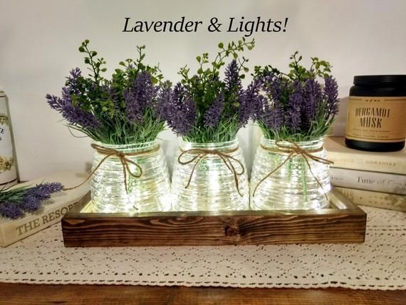 Pin By ирина резник On декор In 2021 Rustic Table Centerpieces Lavender Decor Farmhouse Table Decor