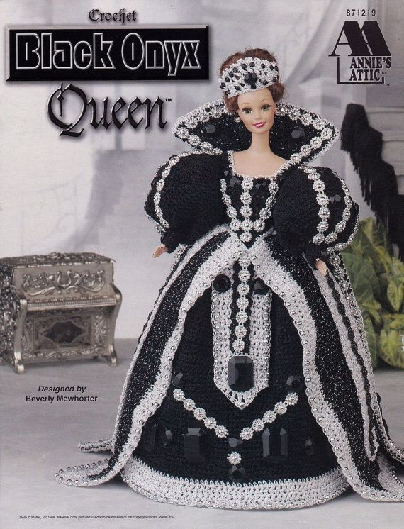 Black Onyx Queen, Annie's Attic Fashion Dolls Crochet Clothes Pattern Booklet 871319 Gown Cape Crown Earrings