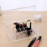Home | 1pcs 23X9X10cm Clear Acrylic Lipstick Holder Display Stand Cosmetic Organizer Makeup Box Case