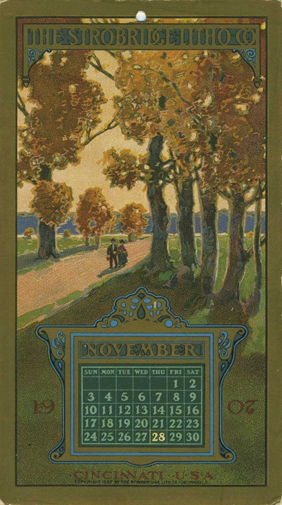 November, 1907, Strobridge Lithographing Company, from the Strobridge Calendar Card Samples, 1899-1912.