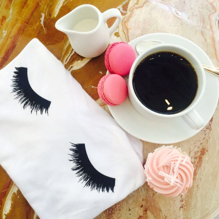 Coffee, Lashes + macaroons. Perfect way to start your day. Only thing missing is your dog's beautiful smile.