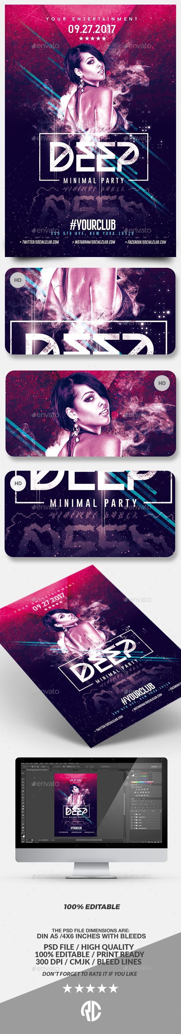 Deep Club Party | Minimal Flyer Template  — PSD Template • Only available here ➝…