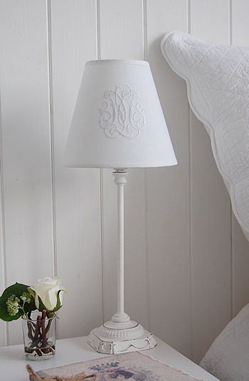 White bedside lamp with shade - The White Lighthouse