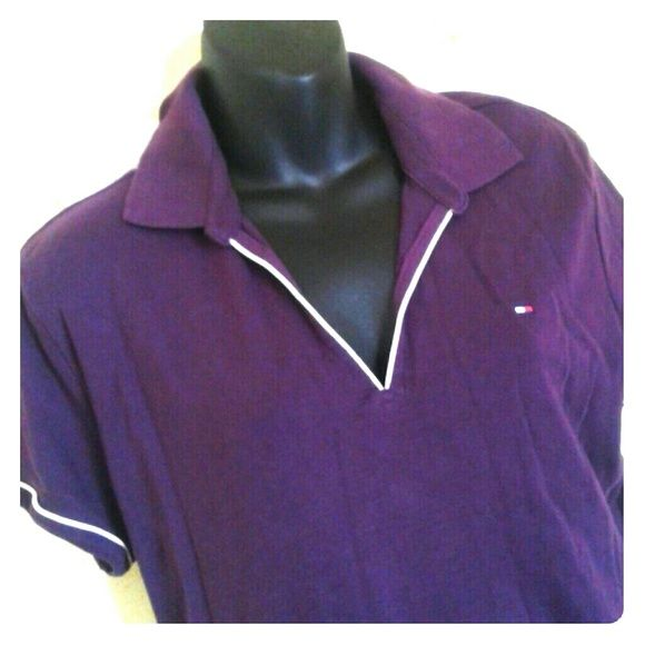Tommy Hilfiger Deep Purple Tshirt Dress, sz XL Great casual tshirt dress in eggplant purple and trimmed in white. Great condition. Tommy Hilfiger Dresses