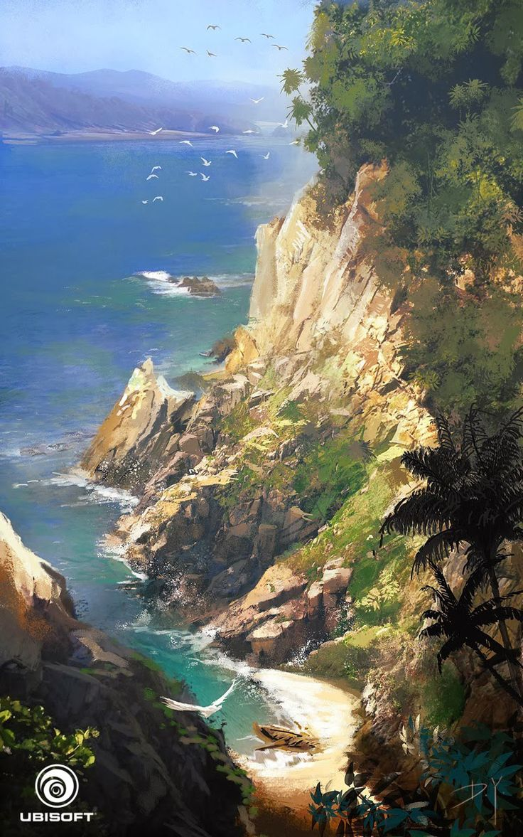 This is a painting of a cliff and beach-line environment concept art from Assassin's Creed IV - Black Flag. The thing I like about this painting is that it brings out all the detail in the rocks and ocean, showing us the crystal blue waters of the West Indies