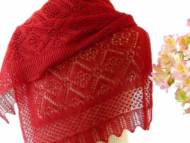 Voici l'écharpe Rose Maiden que j'ai tricotée pour mon amie Annie