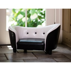 @Overstock - Give the dog a great place to sleep while adding style to any room with a pet sofa bed. This bed is chic and retro with a black and white color palette. The sofa is sleek and shiny as well so that it is easy to clean. This bed is ideal for small pets.http://www.overstock.com/Pet-Supplies/Enchanted-Home-Pet-Black-and-White-Snuggle-Sofa-Bed/6820511/product.html?CID=214117 $69.99