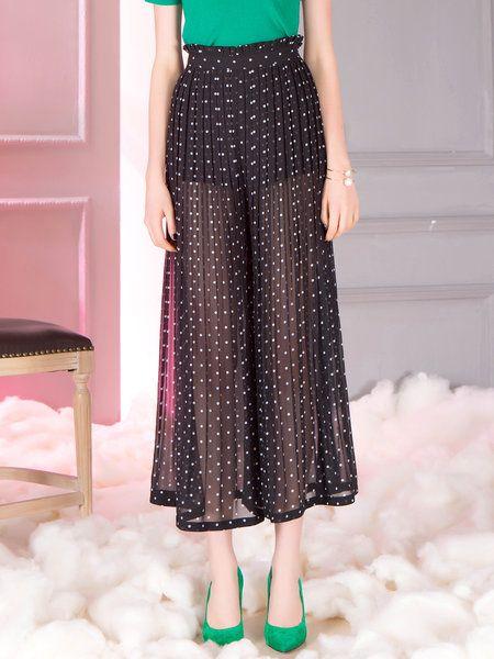 Shop Culottes Pants - Black Shift Pleated Casual Culottes Pant $165