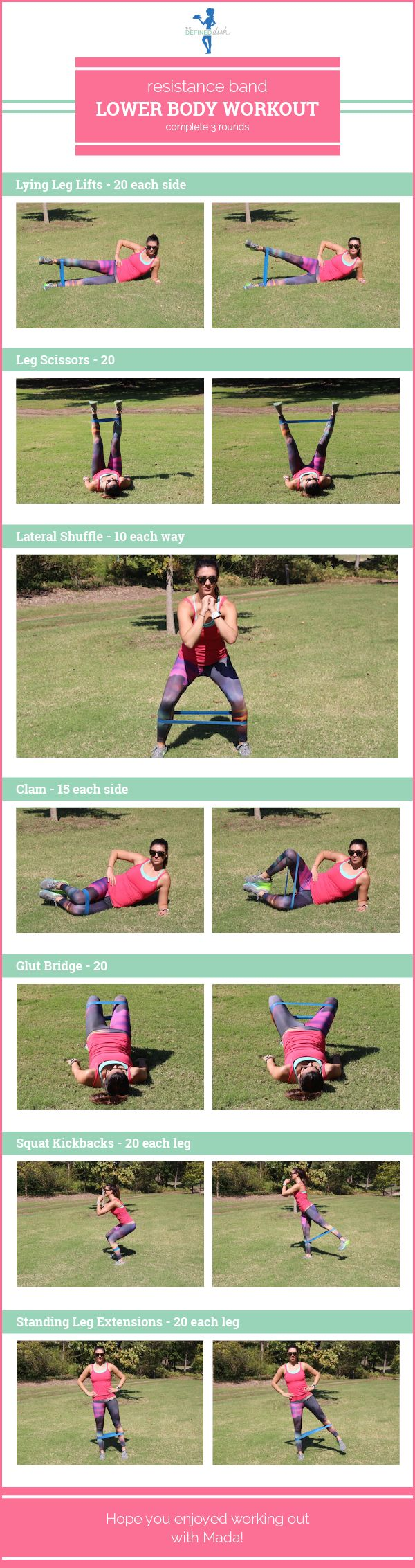 Resistance Band Lower Body Workout   The Defined Dish Sports & Outdoors - Sports & Fitness - Yoga Equipment - Clothing - Women - Pants - yoga fitness - http://amzn.to/2k0et0A