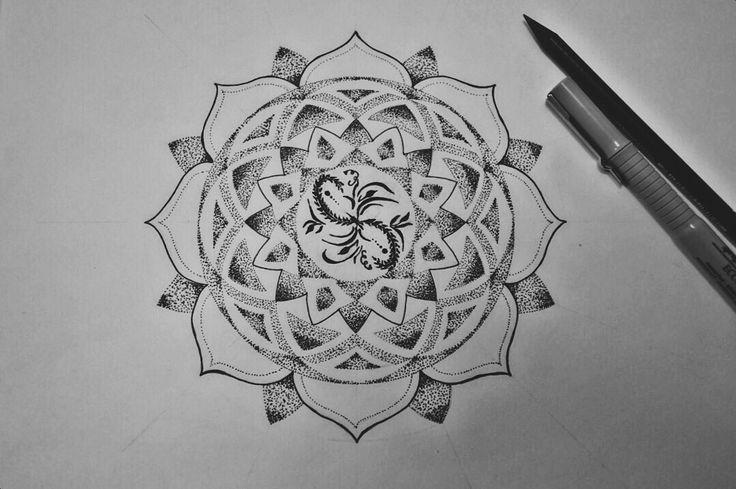 By Irina Vinogradova  Mandala art drawing black sketch dotwork