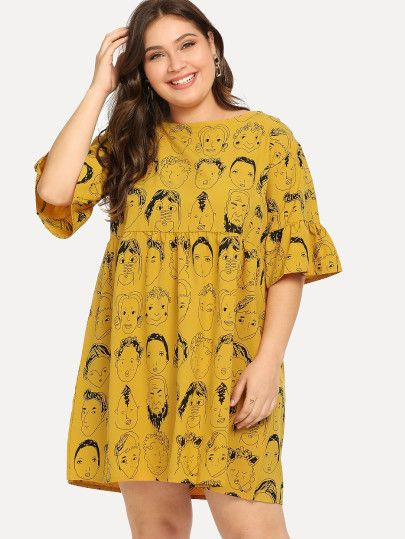 7c0423a23e Shop Plus Figure Print Ruffle Sleeve Tie Back Dress online. SheIn ...