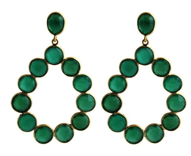 Cecilie Green Chalcedony Chandelier Post Earrings