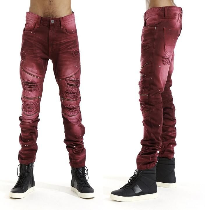 MEN'S BIKER DENIM /W PU ACCORDION BACKING (Burgundy)