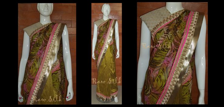 Printed chiffon and green semi raw silk, half and half saree with borders.