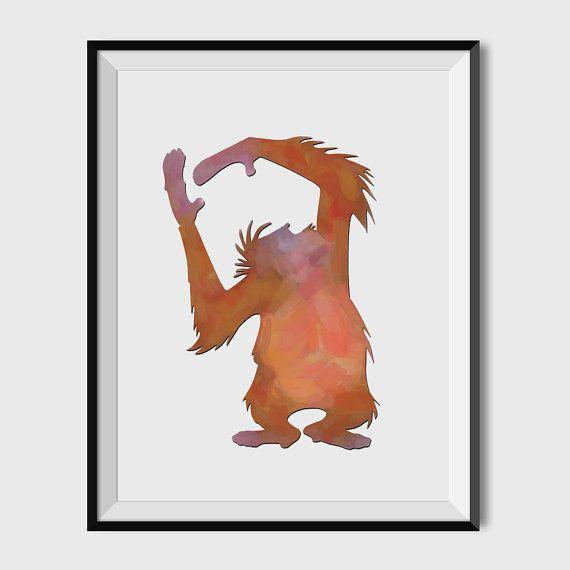 KING LOUIS Jungle Book Art print Baloo Mowgli by FunkiMunki4Kidz