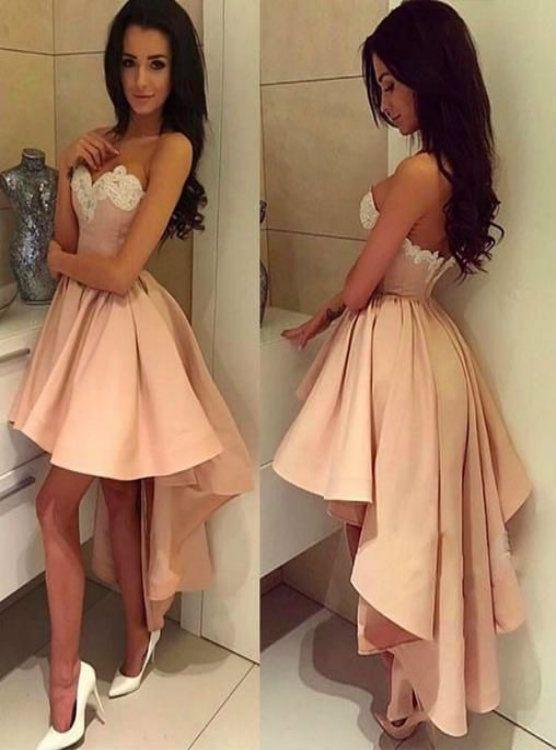 b9e9b4e9 Pink High Low Sweetheart Neck Satin Short Prom Dress | Kemedress ...