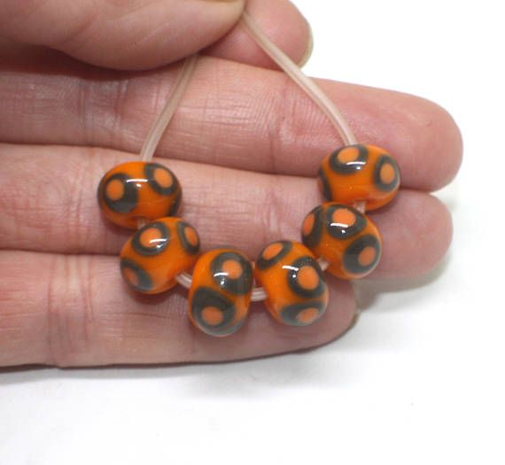 Set 6 Rondelle Beads 12 mm Grey Orange Etched Donut Beads