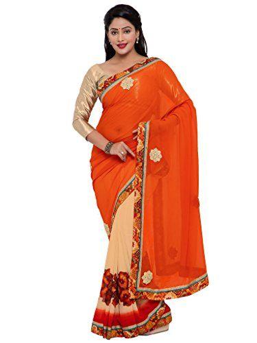 Indian Women orange color georgette sari INDIAN WOMEN http://www.amazon.in/dp/B01N9KJ895/ref=cm_sw_r_pi_dp_x_Hz4Byb13DMGR7