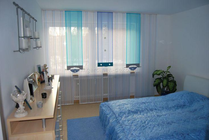 helle schlafzimmer schiebegardine in blau und t rkis. Black Bedroom Furniture Sets. Home Design Ideas